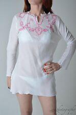 BNWT KULU Australian White Beach Top - Pink Embroidery