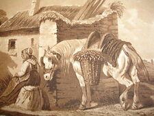 GRAVURE XIXe '' VIE A LA  CAMPAGNE '' signée Hubert couleur bistre 1853