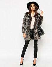 Nuevo glamour @ TOPSHOP Gris Imitación Piel Chaqueta Abrigo palangre chic boho Look 8 10