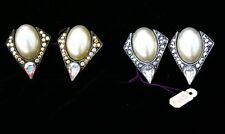 Pearl Clip Earrings with Austrian Swarovski Rhinestones Silver or Gold Jewelry