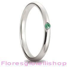 Fedina in argento con brillante Cubic Zirconia verde, disponibile in vari colori