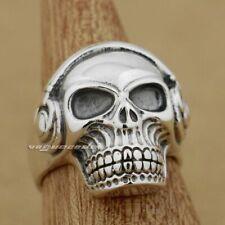 925 Sterling Silver DJ Skull Studio Music Headphone Mens Biker Gothic Ring 8Y011