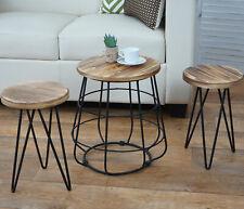 Sgabelli tavolini HWC-A80 design industriale legno di pino metallo