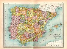 1909 MAP ~ SPAIN & PORTUGAL ~ OLD CASTLE ANDALUSIA ARAGON CATALONIA