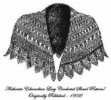 Victorian Edwardian Lace Shawl Cape Crochet Pattern1902