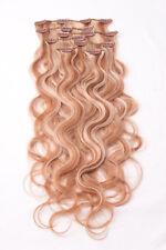#27/613 gesträhnt Clip in GEWELLT Hair Extensions Remy Echthaar 7 teilig Set