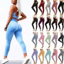 Seamless Womens Yoga Pants High Waist Gym Sportswear Running Fitness Leggings UK