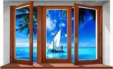 Sticker Trompe L'oeil Adesivo Finestra sul mare della Polinesia