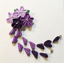 Bridal Japanese Kanzashi Flower Hair Clip Alligator Clip Purple Color