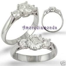 3.31 ct GIA I VVS2 round diamond 3 stone engagement ring 18k white gold size 7