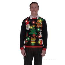 Black Light Up Ugly Christmas Sweater Tacky XMAS Holiday Sweatshirt