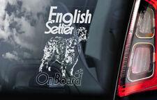 English Setter on Board - Car Window Sticker - Dog Sign Decal Gundog Gift - V02
