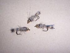 3 x Goldhead GRHE Hares Ear + blue flash trout nymph fishing flies sizes 10 - 18