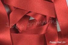 Poppy Red 21 Satin Ribbon by Berisfords 3mm 7mm 10mm 15mm 35mm 50mm  70mm
