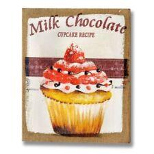 STRAWBERRY CHOCOLATE CUPCAKE CANVAS,25X30CM SHABBY CHIC KITCHEN CAFE COFFEE SHOP