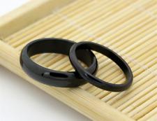 Titanium steel Steel Simple Black rings design Promise Love couple rings 1 pairs