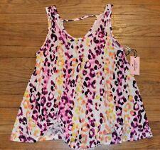 Juicy Couture Leopard Cheetah Print  Sleeveless Tee Animal Print Flowing Top