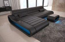 Leder Sofa CONCEPT L Form lang Designer Couch mit Ottomane + Beleuchtung schwarz