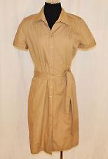 VTG 90s Ann Taylor Loft Tan Button Belted Cotton Secretary Versatile Dress 6