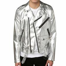 Mens Biker Jacket Silver Motorcycle Slim Fit Goth Punk Moto Leather Jacket