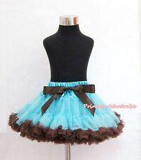 Light Blue Brown FULL Pettiskirt Skirt Party Dance Petti Tutu Dress Girl 1-8Year