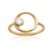 Bague Cercle et Cristal solitaire ZIRCONIUM Plaqué or 18 Carats Bijoux femme