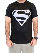 DC Comics Men's Superhero Superman Silver Logo Performance Athletic T-Shirt BLK