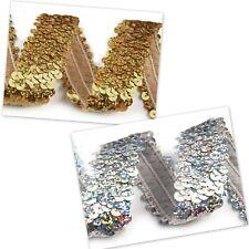 5.90 EUR//Meter Paillettenband elastisch gold 50mm extra breit