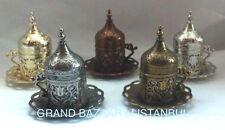 Turkish Coffee Mug Tulip Motif Porcelain Cup Lid Plate Gold Silver Copper