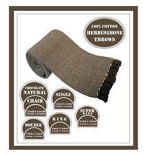 100% Cotton Chocolate Herringbone Sofa / Bedspread settee Cover in 5 Sizes