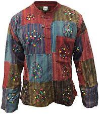 Mens patchwork hippie grandad shirt boho festival colorful summer cotton tops