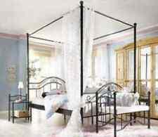 Himmelbett schwarz/creme-weiß Metallbett Betthimmel Bett 90/140/180 x 200 cm