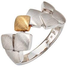 Damen Ring 925 Sterling Silber mit 585 Gold kombiniert rhodiniert mattiert