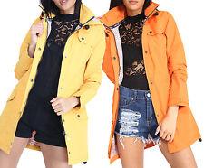 New Womens Lightweight Jacket Hooded Plain Waterproof Rain Mac Coat