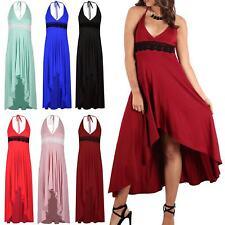 Womens Ladies Waist Floral Lace Halter Neck Wrap High Low Dipped Hem Midi Dress