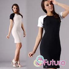 Womens Classic & Elegant Dress Short Sleeve Crew Neck Tunic Sizes 8-16 FA269