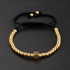 Hot Gold Plated Micro Pave Square CZ Beads Braiding Macrame Men Women Bracelets
