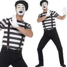 Mens Mime Artist Costume Black White Comedy Fancy Dress Make Up Smiffys 24596