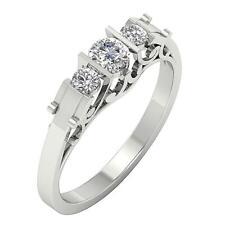 Three Stone Wedding Ring Band I1 H 0.55Ct Round Cut Diamond 14K Solid White Gold