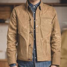 Mens Long Leeve Retro Oil Wax Canvas Slim Jacket Wear-resistant Combat Coat Size