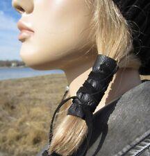 Ponytail Holders Leather Hair Wrap Ties Top BOHO Bohemian Clothing Jewelry Black