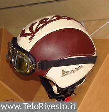 Casco Vespa Vintage personalizzato in pelle panna marrone occhiali / visiera