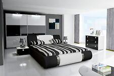 Schlafzimmer Komplett Hochglanz schwarz weiss Bett, Kleiderschrank, 2 Nako