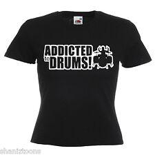 Drums Drummer Drum Kit Ladies Lady Fit T Shirt 13 Colours Size 6 - 16