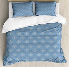 Geometric Duvet Cover Set with Pillow Shams Medieval Pattern Print