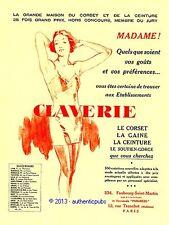 PUBLICITE CLAVERIE CORSET GAINE CEINTURE SOUTIEN GORGE PIN UP DE 1933 FRENCH AD