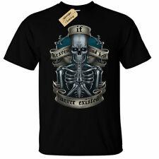 Heaven and Hell Mens T-Shirt biker skull skeleton gothic rock punk goth metal