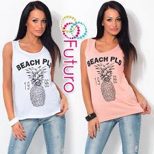 Ladies Vest Top BEACH Print Sleeveless 100% Cotton T-Shirt Tunic Sizes 8-14 FB50