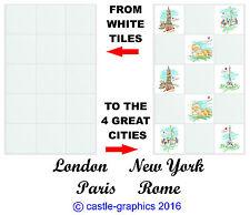 "Londra, New York, Parigi, Roma, stampata cucina piastrella Adesivi per 150MM / 6 ""X 6"""