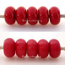 5 CHEERY RED * donut handmade lampwork glass spacer beads TANERES sra